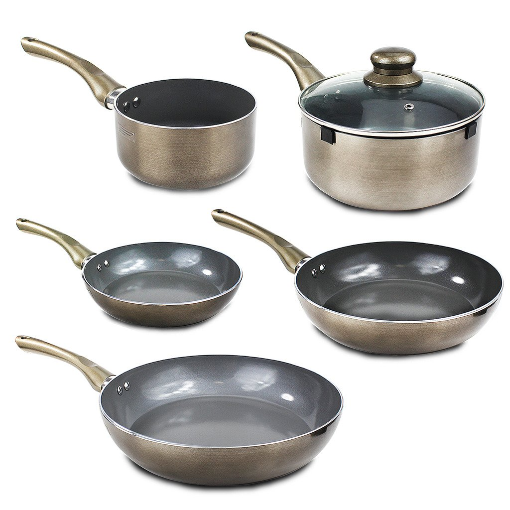 Non Stick Ceramic Pan Saucepan Frying Pewter Cookware Aluminium Induction Set (Set of 5) Guaranteed4less