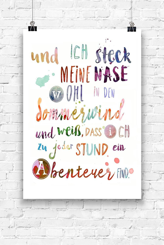 Print Wandbild Poster Bild Wanddeko Sommerwind Spruch OHNE RAHMEN Format A4