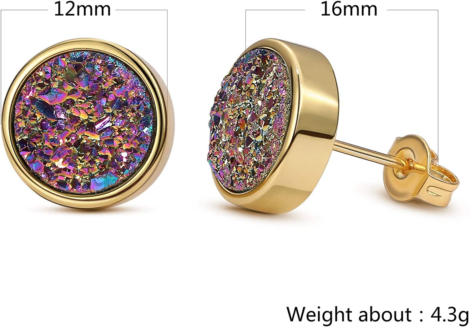 24K Real Gold Plated Brass Round Earring Studs with Water Drop Shape Pendants with faceted crystals and big crystal beads