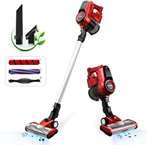 Cordless Stick Vacuum 2 in 1 Handheld Vac 2 Speeds 130W for Hard Floor and Carpet
