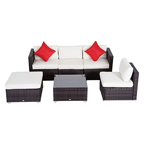 Outsunny 6 Piece Outdoor Patio PE Rattan Wicker Sofa Sectional Furniture Set, Deluxe