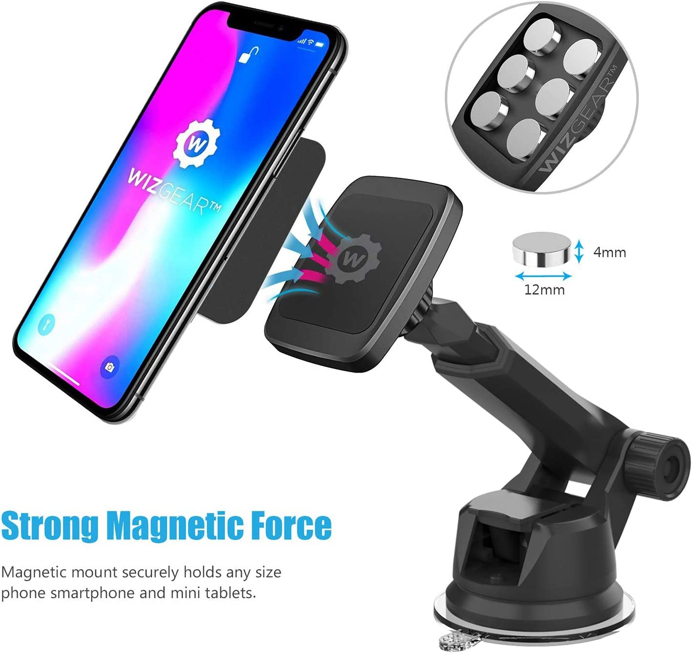 WizGear Universal Magnetic Car Mount Holder New Version Telescopic Arm Windshield Mount and Dashboard Mount Holder for Cell Phones and Tablets with Long Arm