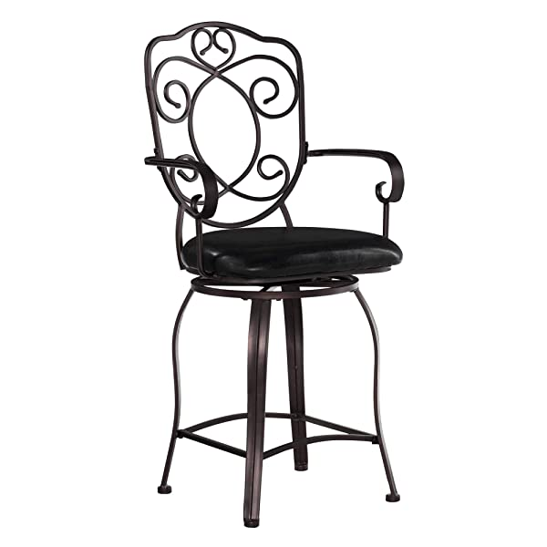 Linon Crested Back Swivel Counter Stool 24