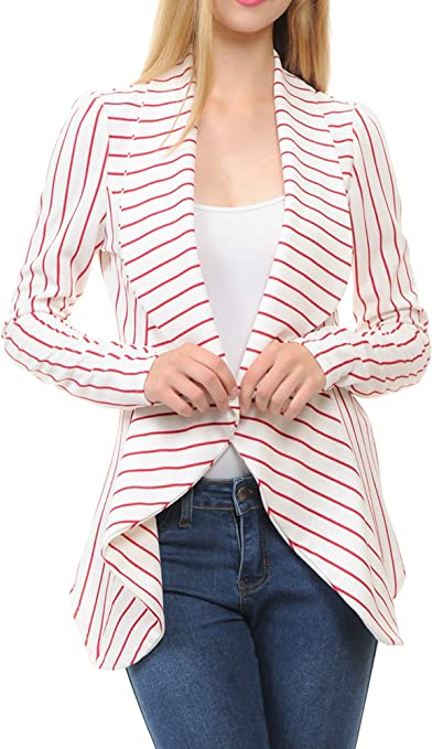 Women's Classic Draped Open Front Lightweight Blazer with Plus Size
