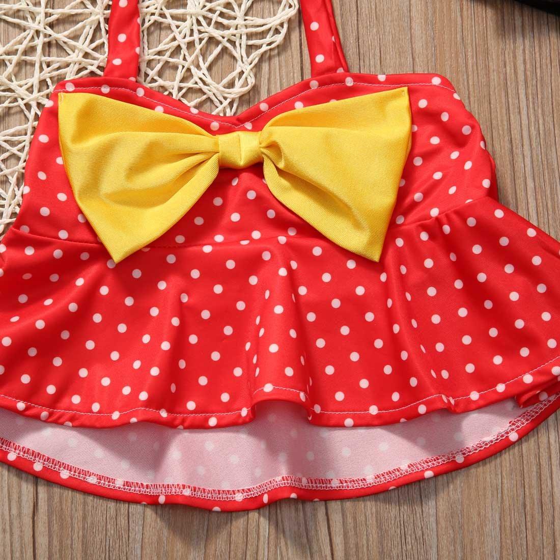 Ambabe 3PCS Toddler Baby Girl Bikini Set Polka Dot Ruffled Halter Crop Top+Shorts+Bowknot Headband Swimsuit Bathing Suit
