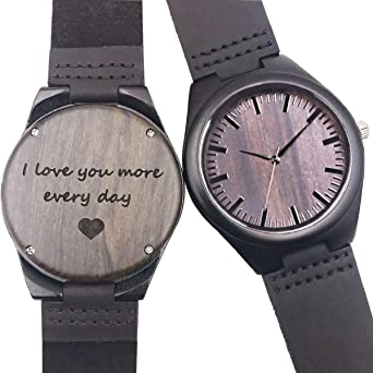 Customized Engraved Wooden Watch, Casual Handmade Wood Watch for Men Women Husband Wife Girlfriend Boyfriend Dad Mom Son Family Friends Customized Gift