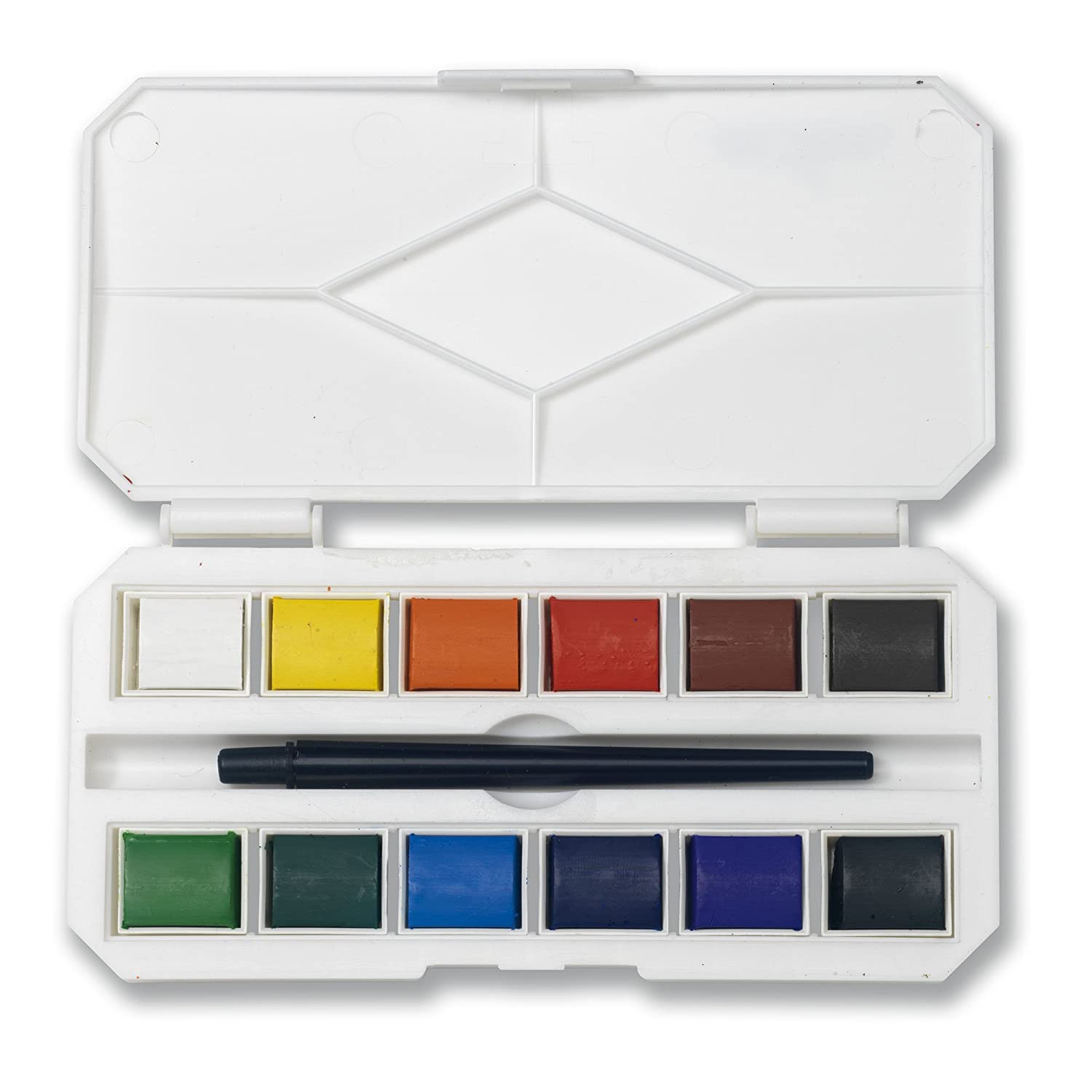Jerry Q Art 12 Assorted Water Colors Travel Pocket Set- Free Paint Brush-Easy to Blend Colors-Half Pan Watercolors- Perfect for Painting on the Go JQ-112