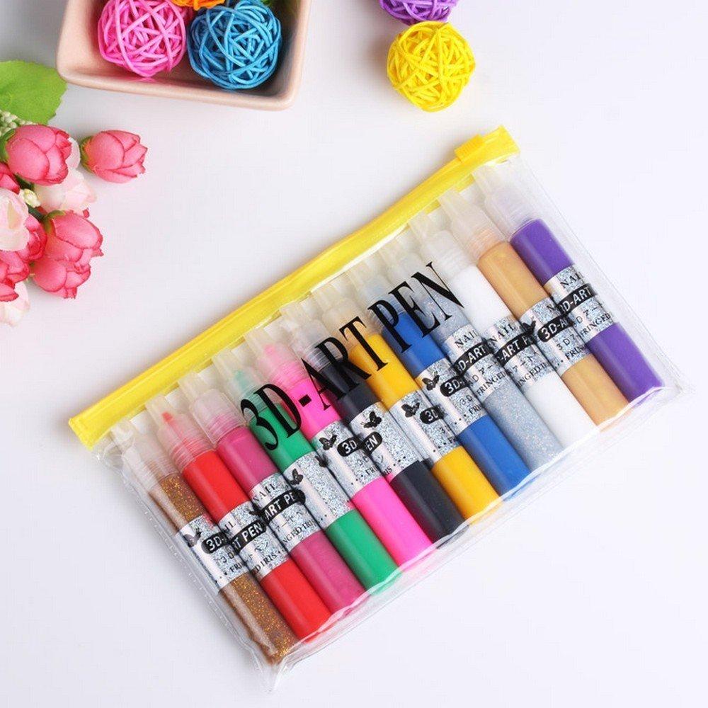 Beautylife 12X3D Paint Nail Art DIY Polish Pen Set Salon Beauty ...