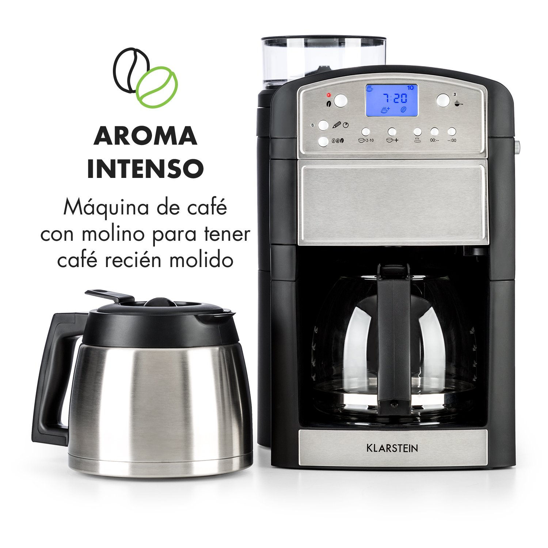 Klarstein Aromatica • Máquina de café • Máquina con filtro • Filtro de carbono • Antigoteo • Jarra de cristal y termo • Temporizador 24h • Hasta 10 tazas ...