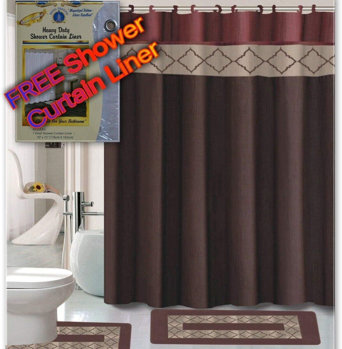 Empire Home 15 Piece Elegant Bathroom Set Bath Rugs Shower Curtain Hooks + Free Shower Liner!!! (Dynasty Burgundy)