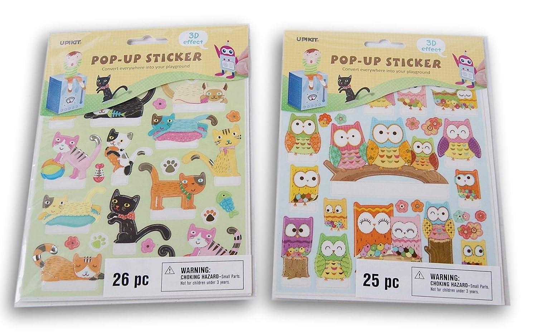 Cats and Owls 3D Effect Pop Up Reward Sticker Set 51 Count Motivational Stickers