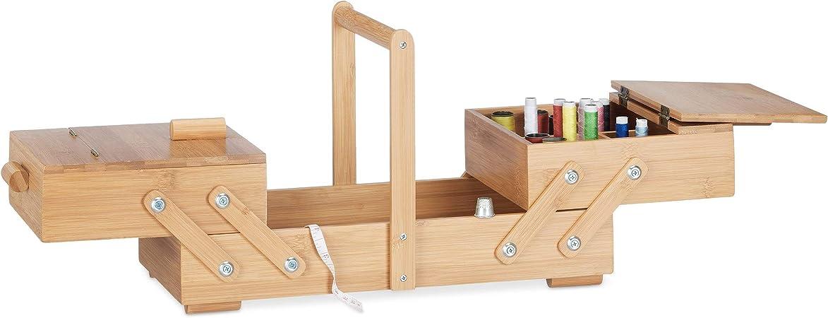Relaxdays Caja de Costura XL con Compartimentos, Bambú, Beige ...