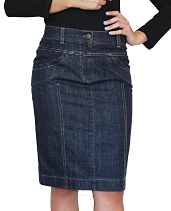 New Ladies Casual Souvenir Fashion Knee Length Pencil Denim Skirt ...