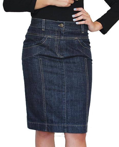 8fe9f041de New Ladies Casual Souvenir Fashion Knee Length Pencil Denim Skirt Size UK 8  10 12 14 16 18 20 22: Amazon.co.uk: Clothing