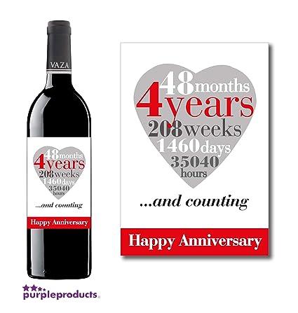 Purpleproducts étiquette De Vin 4 Ans 4ème Anniversaire De