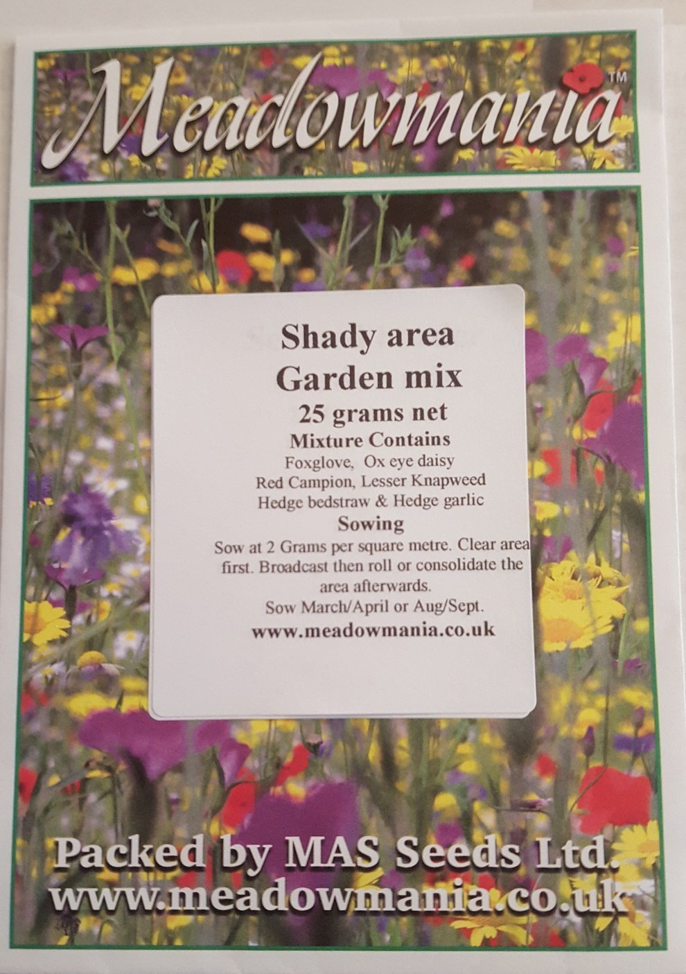 MeadowMania Native UK Seed cover up to 30 square metres 100/% Wildflower seed shaded//woodland areas 45 grams