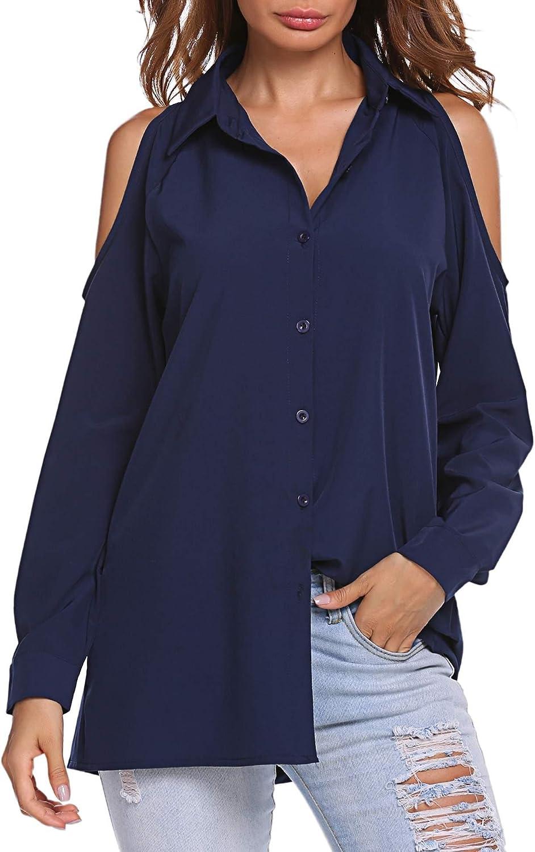 Tan Black Cold Shoulder Snaps Button Down Long Sleeve Blouse Top Size S