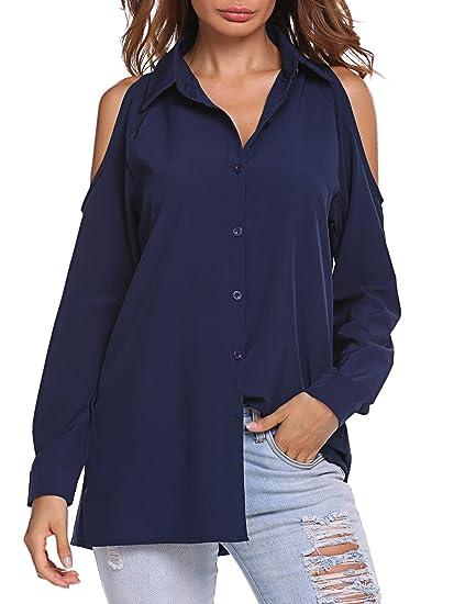 149350ef7 Zeagoo Women's Button Down Shirts Chiffon Cold Shoulder Long Sleeve Tunic  Tops