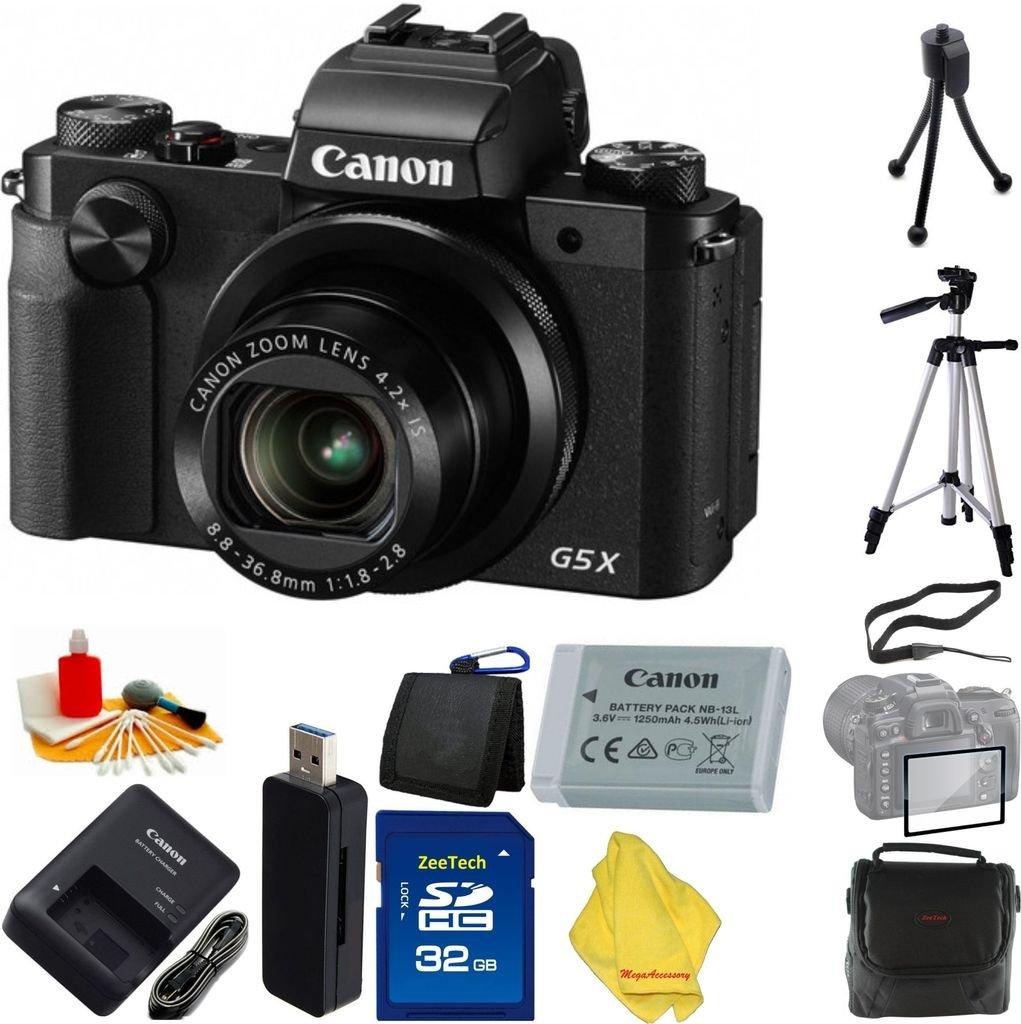 Canon PowerShot g5 Xデジタルカメラwith 4.2 X光学ズーム、Wi - Fi、3インチLCD搭載+ケース+ 32 GBカード+リーダー+ 6個スターターセット+三脚   B01LXZHEJR