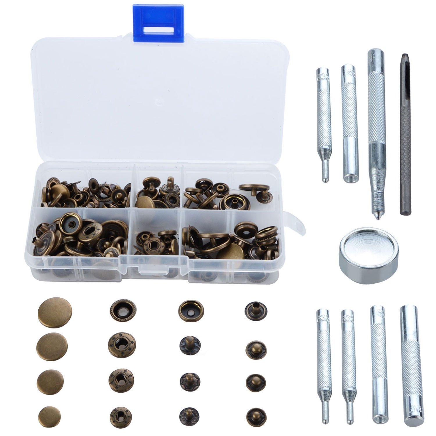 Copper Snap Fasteners Bronze Clothing Snaps Button with Fixing Tool Kit for Leather Craft Jacket Wallet Handbag Toyfun