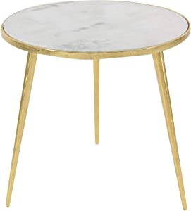 """Deco 79 21"""" x 20"""" Aluminum And Marble Accent Table, Gold/White/Gray"""
