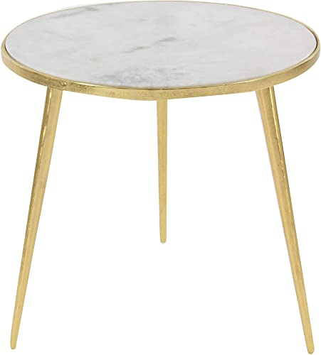 Deco 79 21 x 20 Aluminum And Marble Accent Table