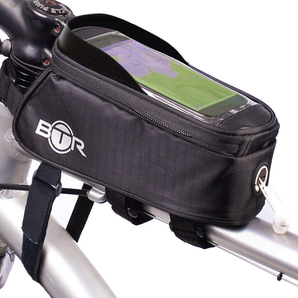 BTR Borsa bicicletta porta cellulare - borsa per bicicletta resistente all'acqua. Nera. Nuova edizione migliorata 2016 che va su TUTTE le biciclette