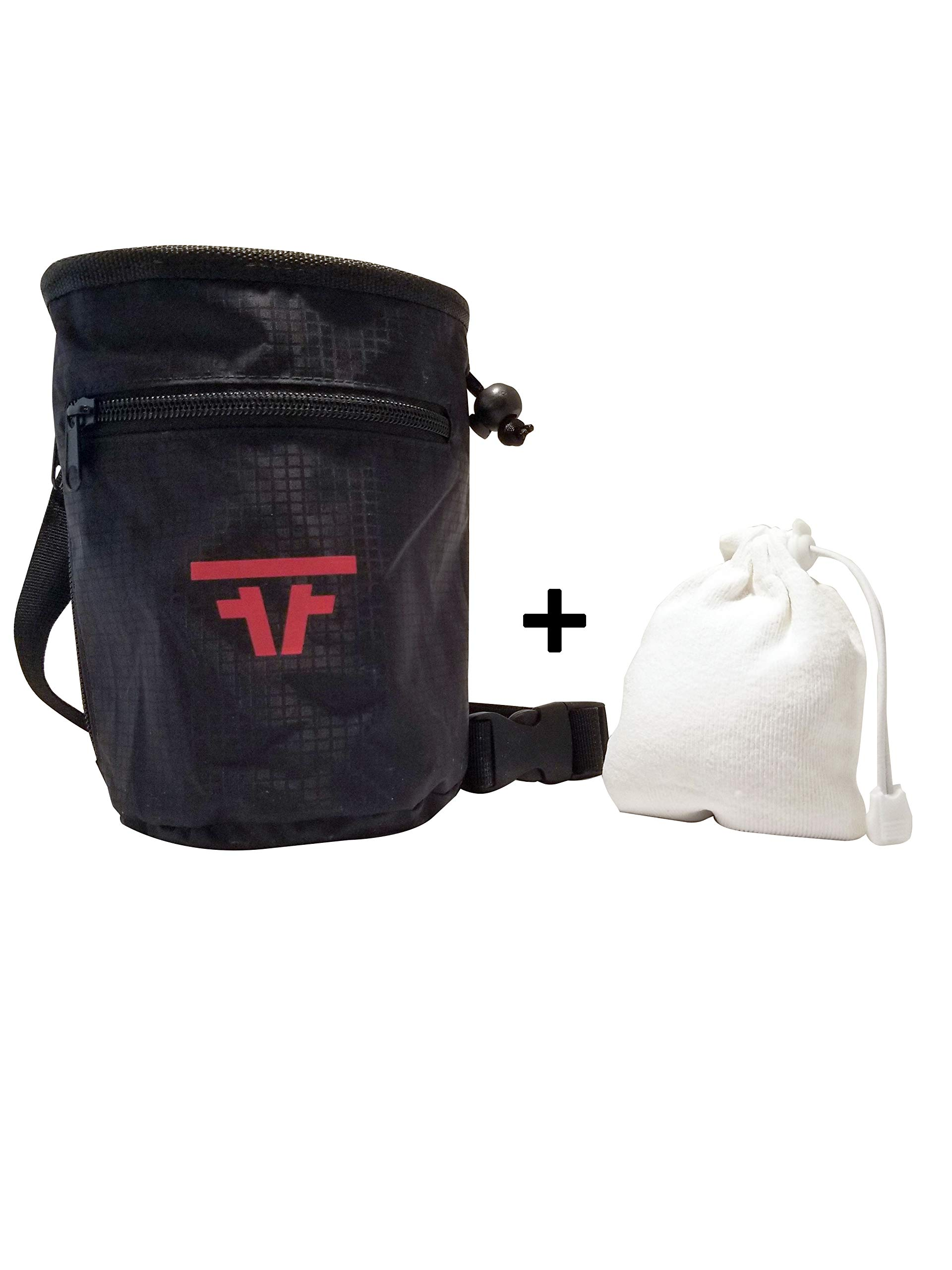 Free Face Gear Chalk Bag for Rock Climbing with Refillable Chalk Ball, Quick Clip-On Adjustable Waist Strap, Large 2-Zipper Design for Bouldering, Gymnastics, Cross-Fit, and Lifting