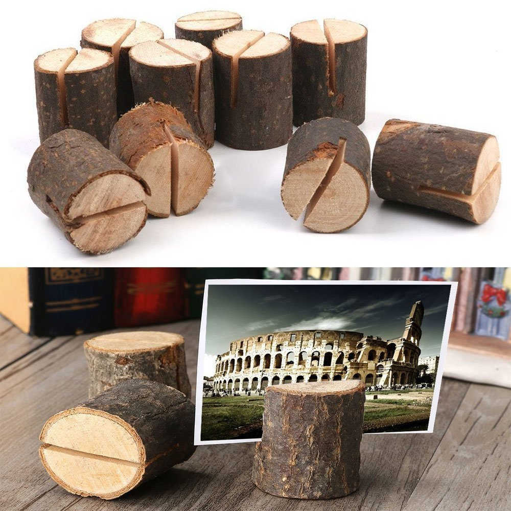 Dproptel Rustic Real Wood Base Wedding Table Name Number Holder Party Decoration Card Holders Picture Memo Clip Note Photo Clip Holder - 30 PCS Pack by Dproptel (Image #3)