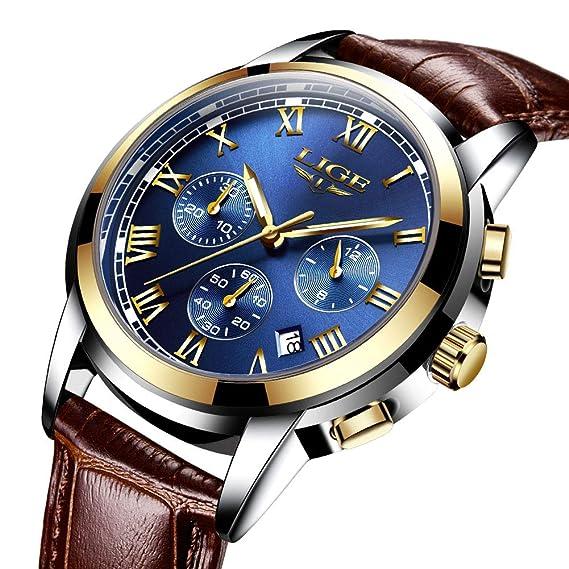 LIGE Relojes Hombres Cronógrafo Impermeable Deportes Reloj De Cuarzo Analógico Hombre Fecha Moda Casual Cuero Marrón Reloj: Amazon.es: Relojes