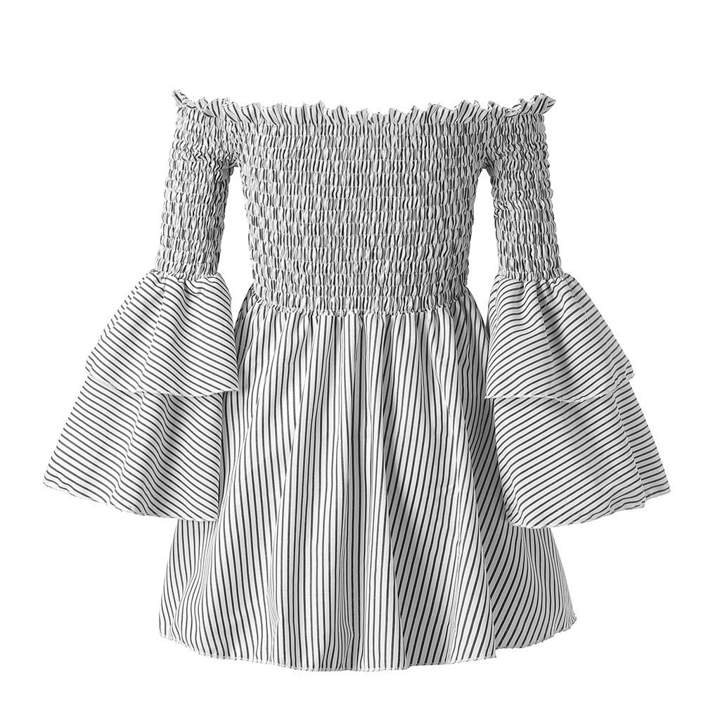 MISYAA Off Shoulder Dresses for Women Bell Sleeve Salsh Neck Vertical Stripe Aline Dress Bestie Gift Womens Dresses