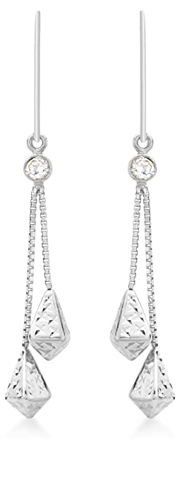 Carissima Gold 9ct White Gold Cubic Zirconia and Diamond Cut Chain Drop Earrings SFCX24TZOh