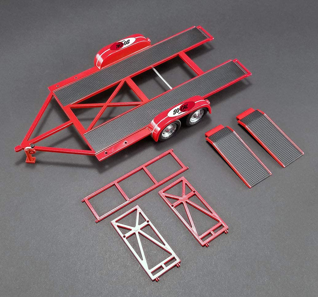 1//18 GMP Tandem Car Trailer with Tire Rack SO-CAL Speed Shop Model Red 18907