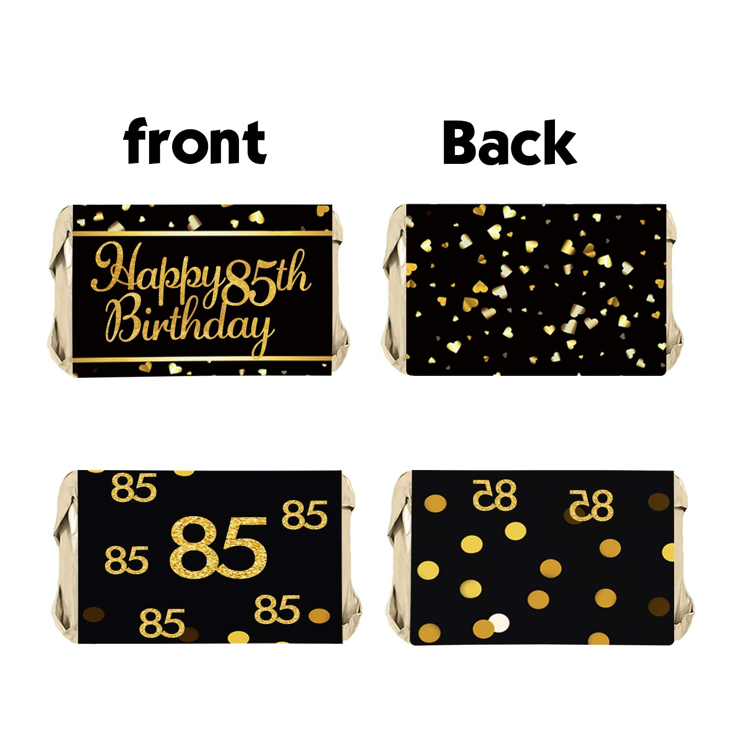 85th Birthday Party Decor 85th Birthday Party Mini Candy Bar Wrappers 45 Stickers