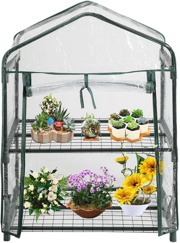 Home Plant Greenhouse Garden Cover PVC2 Tier Shelves Mini Greenhouse (Without Iron Frame)