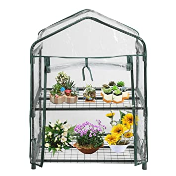 Blue-Yan Mini-Serre à 2 Niveaux avec Couvercle à glissière, Serre-Jardin en  Plastique à Effet de Serre pour Plantes et Fleurs, abri de Jardin ...