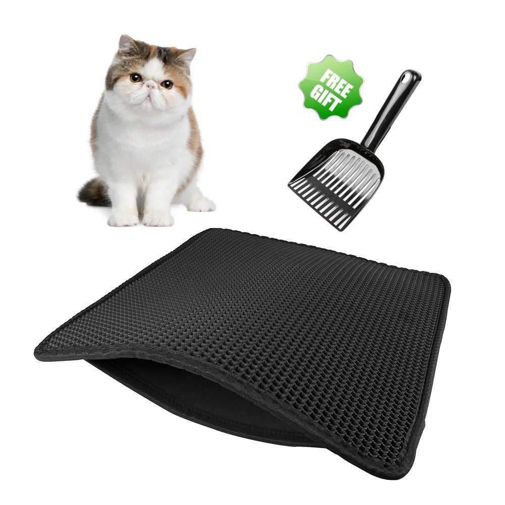 Aopuwoner Cat Litter Mat, Honeycomb Double Layer Anti-Splash Sand,Litter Box Trapper with Waterproof and Urine Proof,Kitty Litter mat,Easy Clean and Store, Protect The Floor(23''X26''Mat+Scoop) (Black)