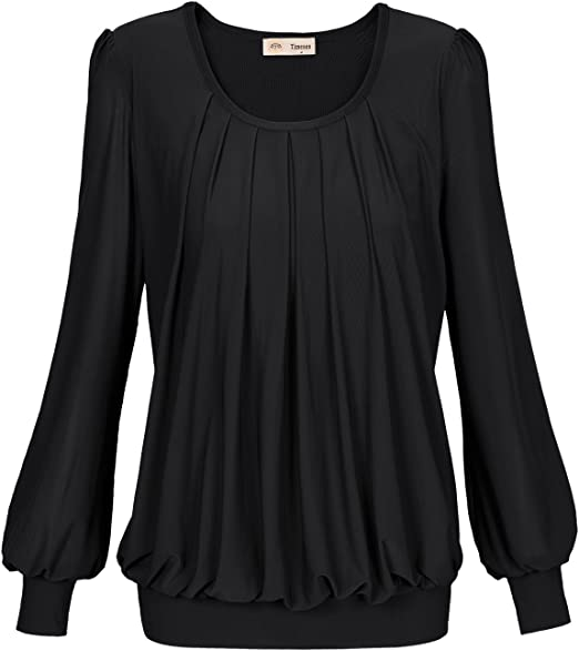 Timeson Blouses for Women Elegant Long Womens Casual Chiffon V Neck Cuffed Sleeve Blouse Tops
