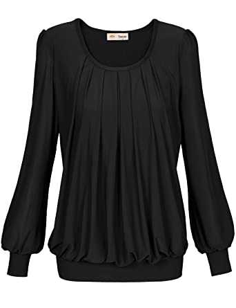 826f774ac4c1ef Timeson Blouses for Women for Work, Womens Pleated Front Fitted Slim Fit  Round Neck Tunic