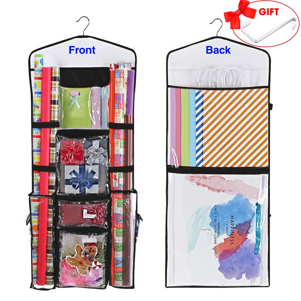ProPik Hanging Double Sided Wrapping Paper Storage Organizer with Multiple Front and Back Pockets Organize Your Gift Wrap & Gift Bags Bows Ribbons 40''X17 Fits 40 Inch Rolls (Black) by ProPik