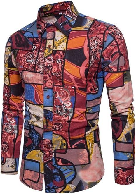 Xinxinyu Camiseta para hombre, Hombres {Camisa de manga larga} {Imprimir Business Jersey Camiseta Top té} {Slim Fit Blusa}, rojo, large: Amazon.es: Deportes y aire libre