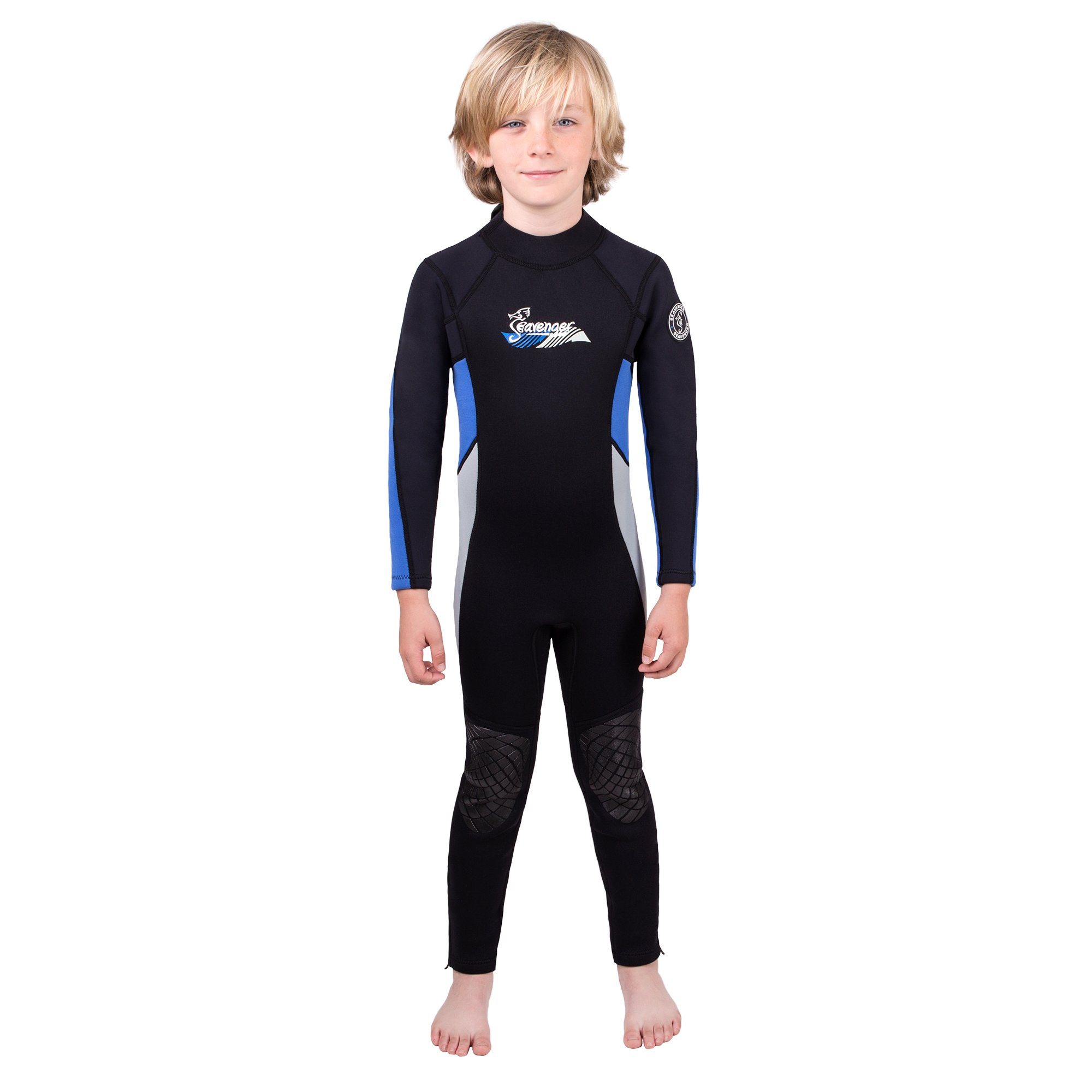 Seavenger Scout 3mm Kids Wetsuit | Full Body Neoprene Suit for Snorkeling, Swimming, Diving (Ocean Blue, 12) by Seavenger