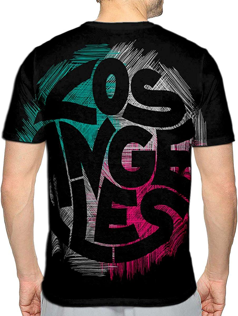 3D Printed T-Shirts Los Angeles Concept Vintage Style Short Sleeve Tops Tees