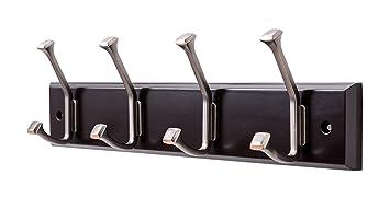 Finnhomy Wooden Coat Hooks Wall Hooks 4 Dual Hooks 16 Inch Rail/Pilltop Rack