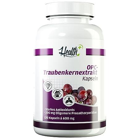 HEALTH+ OPC Traubenkernextrakt - 120 Kapseln, 200 mg reines OPC Pulver - Oligomere Proanthocyanidine starkes Antioxidants, OP
