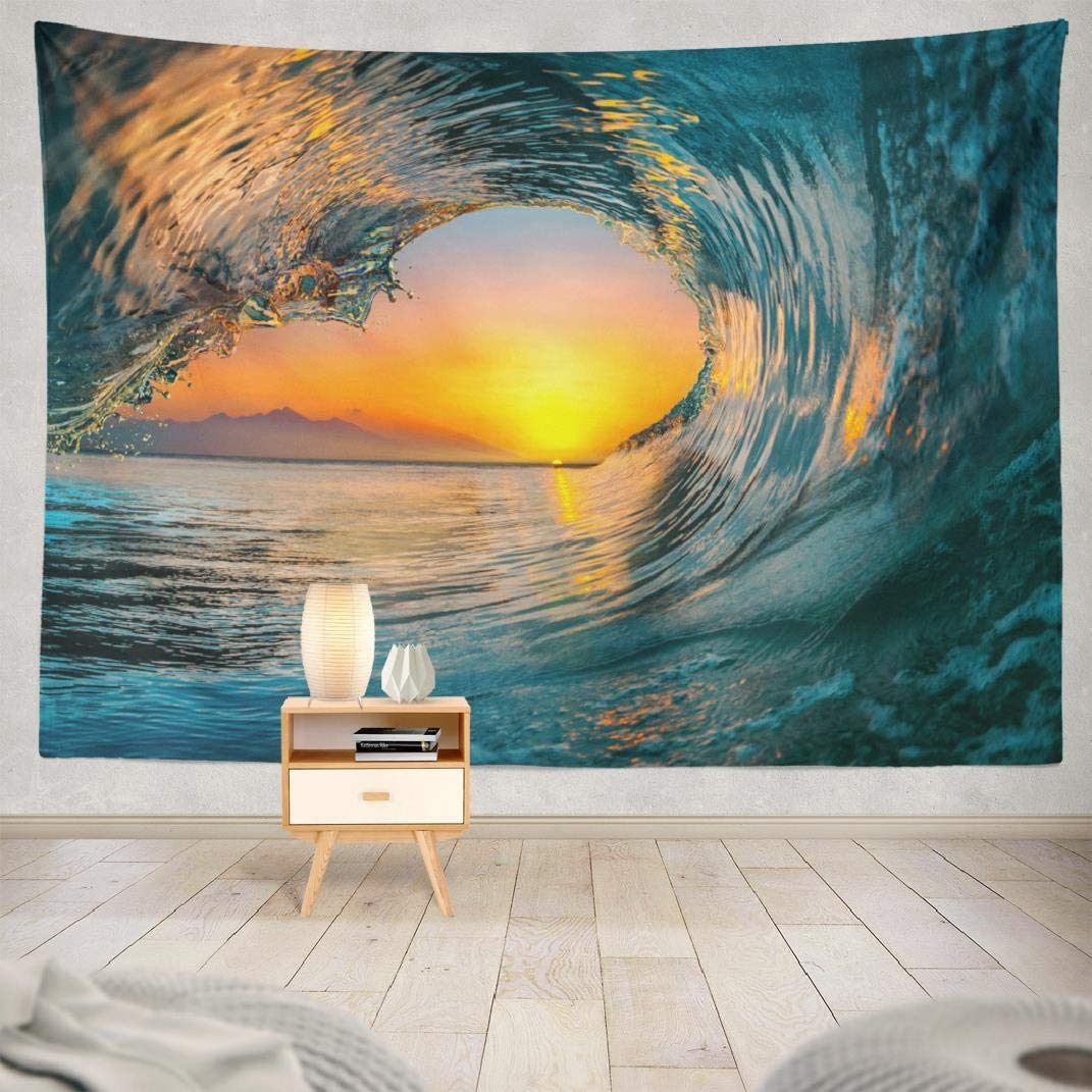 Sunset Sea Tapestry,Kutita Wall Hanging Tapestry Sunset Sea Water Ocean Wave Surf Abstract Beach Wall Tapestry Dorm Home Decor Bedroom Living Room in 80X60 inch
