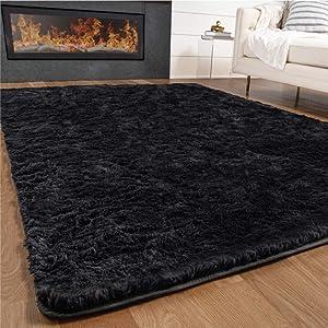 Gorilla Grip Premium Fluffy Area Rug, 5x7 Feet, Super Soft High Pile Shag Carpet, Washable Indoor Modern Rugs for Floor, Luxury Home Decor Accent Carpets for Nursery, Bedroom, Living Room, Jet Black