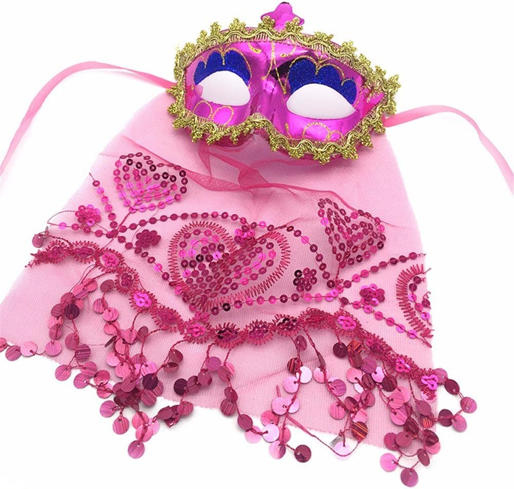 PromMask Mascara Facial Careta Protector de Cara dominó Frente Falso Halloween Maquillaje Danza Fiesta Anual máscara enmascarada Velada Rosa