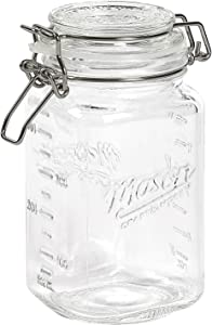 Mason Craft & More Airtight Kitchen Food Storage Clear Glass Clamp Jars, 50 Ounce (1.5 Liter) Medium Clamp Jar