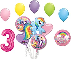 My Little Pony Rainbow Dash 3rd Birthday Party Supplies 12 Piece Mylar & Latex Balloons Set Latex and Mylar Balloon Set